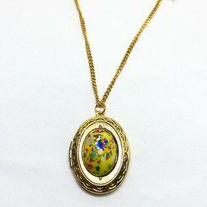 """🆕Vintage Gold """"Easter Egg"""" Cabochon Locket"""